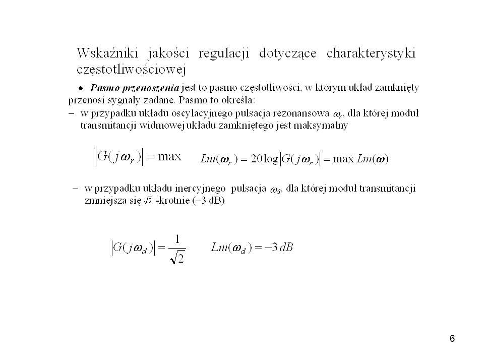 7 _ + W(s)W(s) Y(s)Y(s) k sp układ ze sprzężeniem zwrotnym układ bez sprzężenia zwrotnego [dB] Schemat blokowy układu ze sprzężeniem zwrotnym Logarytmiczne charakterystyki amplitudowe układu zamkniętego i układu bez sprzężenia zwrotnego