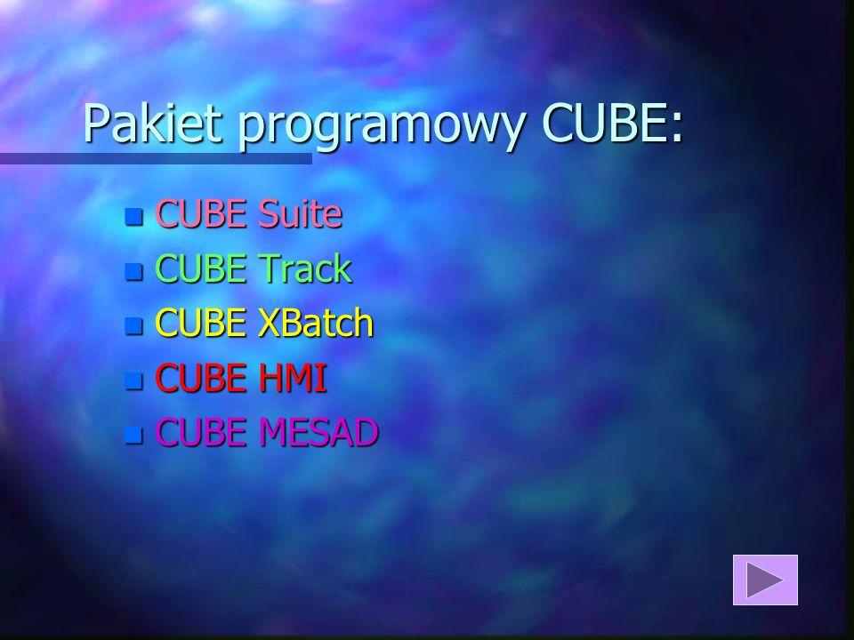 Pakiet programowy CUBE: n CUBE Suite n CUBE Track n CUBE XBatch n CUBE HMI n CUBE MESAD