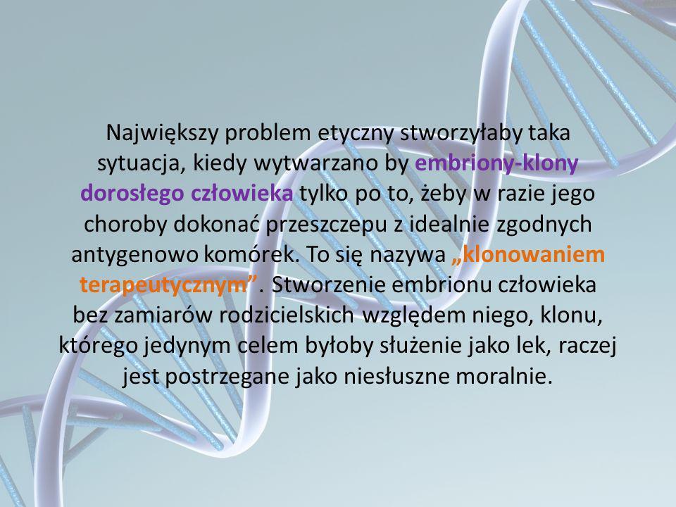 Największy problem etyczny stworzyłaby taka sytuacja, kiedy wytwarzano by embriony-klony dorosłego człowieka tylko po to, żeby w razie jego choroby do