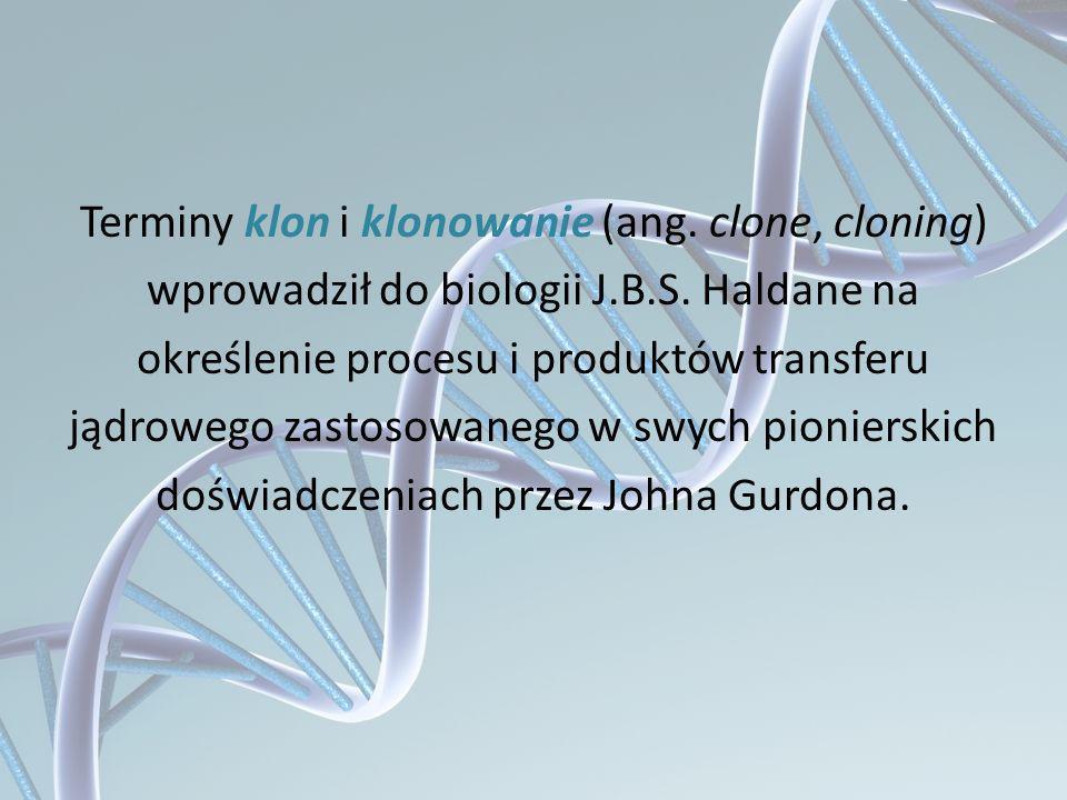 Terminy klon i klonowanie (ang. clone, cloning) wprowadził do biologii J.B.S. Haldane na określenie procesu i produktów transferu jądrowego zastosowan