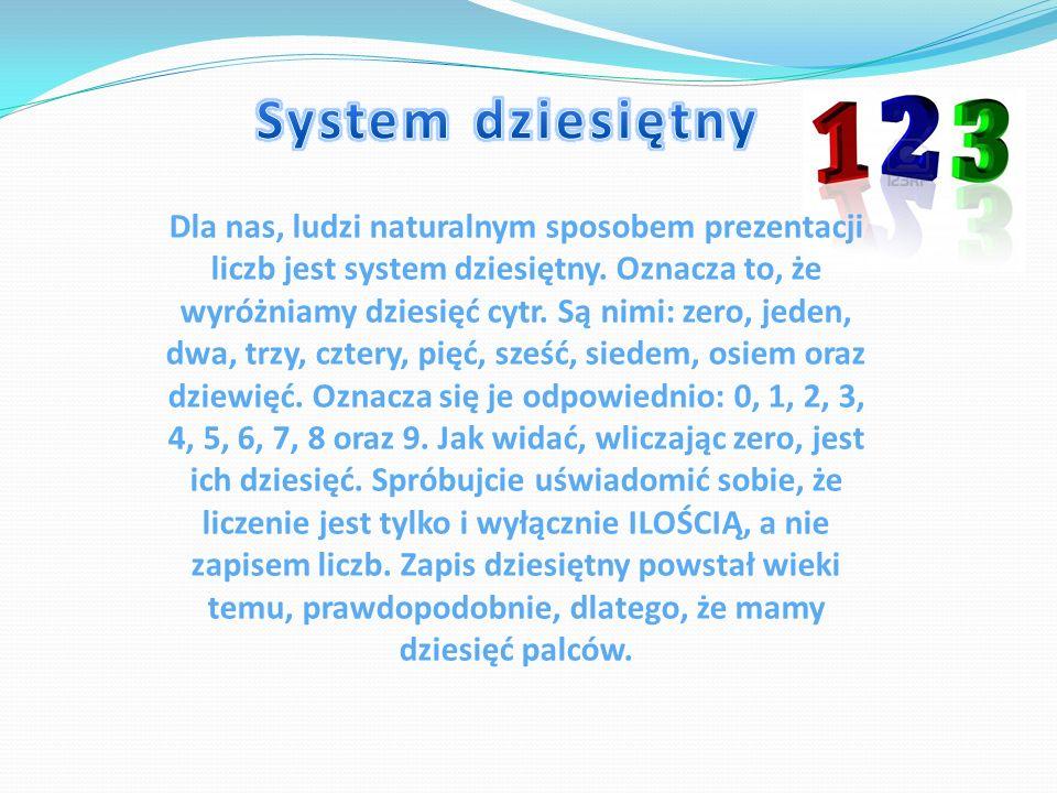 Dla nas, ludzi naturalnym sposobem prezentacji liczb jest system dziesiętny. Oznacza to, że wyróżniamy dziesięć cytr. Są nimi: zero, jeden, dwa, trzy,