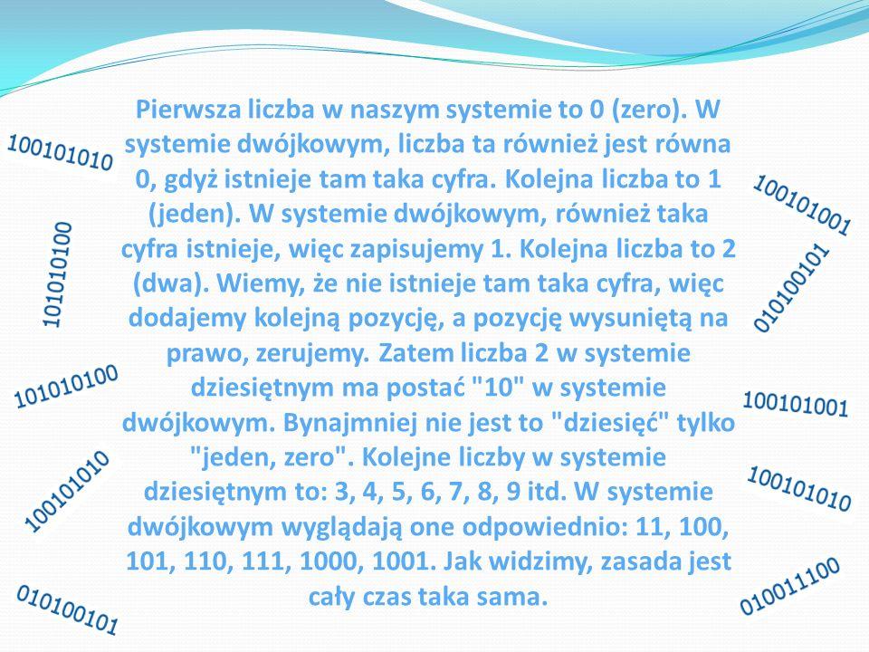 Pierwsza liczba w naszym systemie to 0 (zero). W systemie dwójkowym, liczba ta również jest równa 0, gdyż istnieje tam taka cyfra. Kolejna liczba to 1