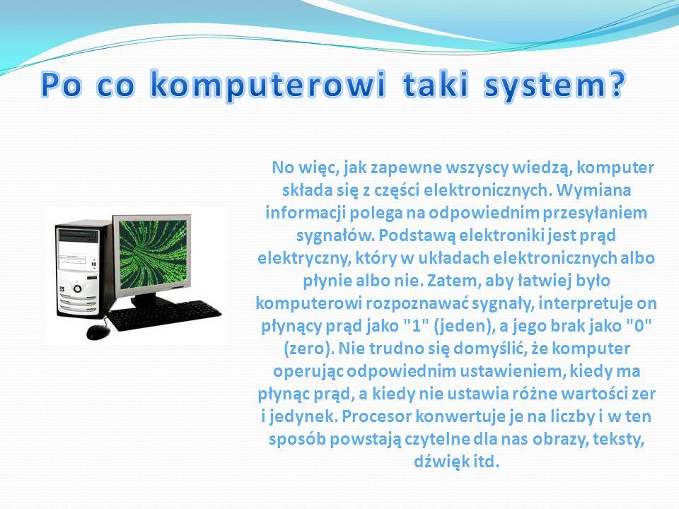 No więc, jak zapewne wszyscy wiedzą, komputer składa się z części elektronicznych. Wymiana informacji polega na odpowiednim przesyłaniem sygnałów. Pod