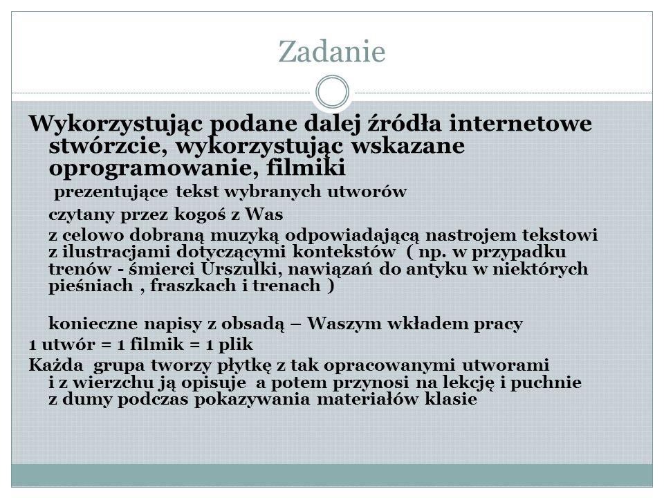Proces Podzielcie się na grupy - Fraszki I ( Fraszki pierwsze i ew.