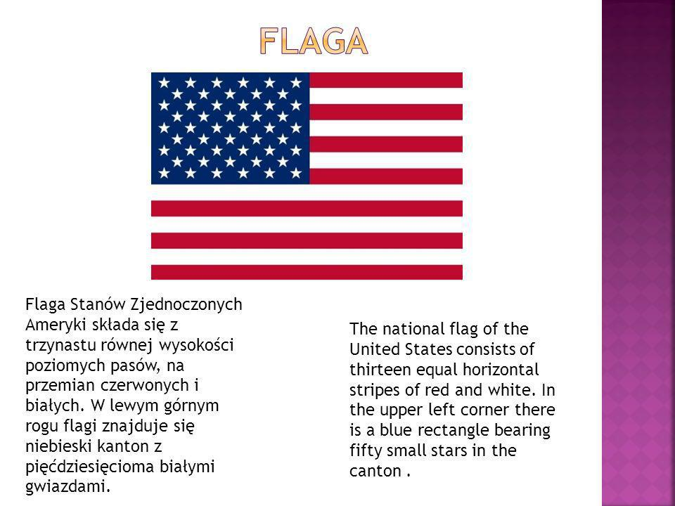 The national flag of the United States consists of thirteen equal horizontal stripes of red and white. In the upper left corner there is a blue rectan