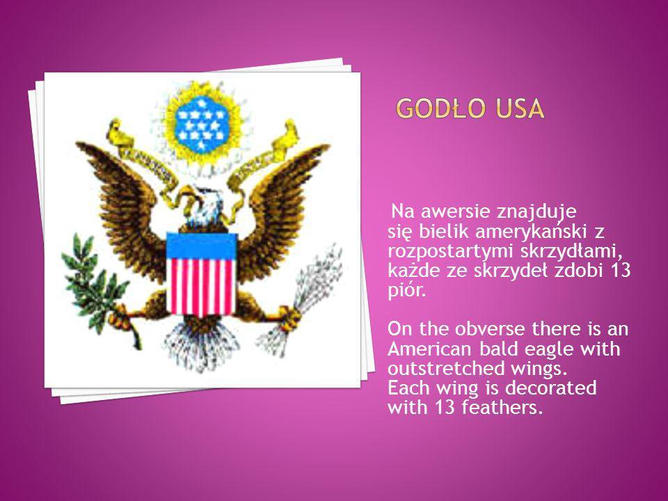 Na awersie znajduje się bielik amerykański z rozpostartymi skrzydłami, każde ze skrzydeł zdobi 13 piór. On the obverse there is an American bald eagle