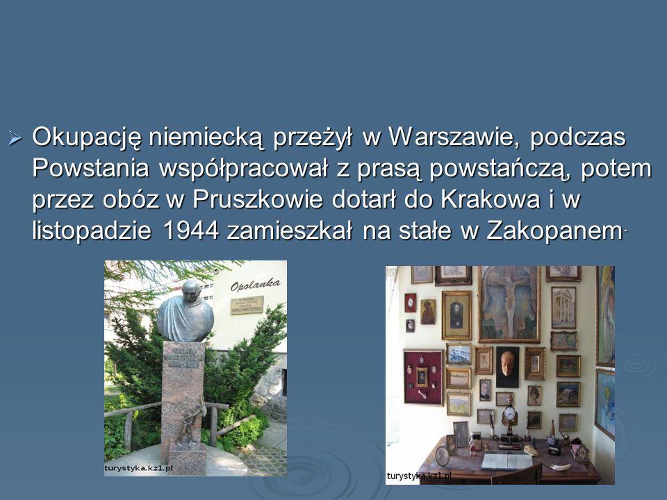 Okupację niemiecką przeżył w Warszawie, podczas Powstania współpracował z prasą powstańczą, potem przez obóz w Pruszkowie dotarł do Krakowa i w listop