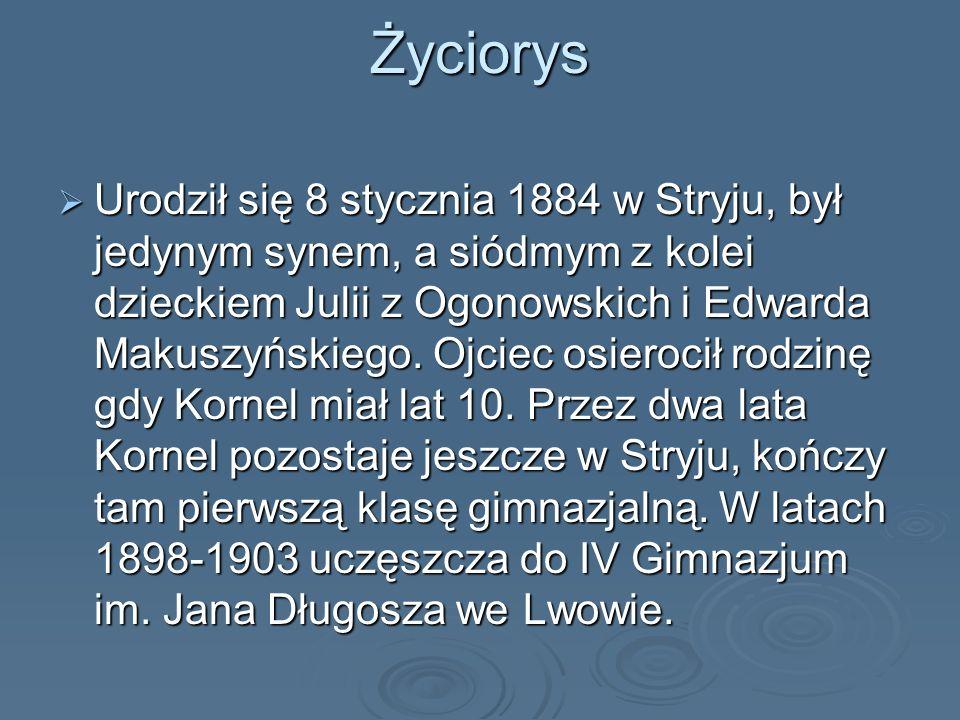 Życiorys Urodził się 8 stycznia 1884 w Stryju, był jedynym synem, a siódmym z kolei dzieckiem Julii z Ogonowskich i Edwarda Makuszyńskiego. Ojciec osi