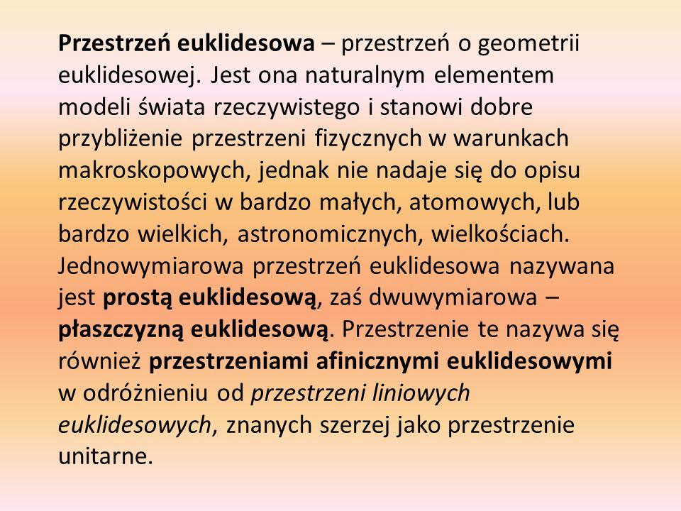 Przestrzeń euklidesowa – przestrzeń o geometrii euklidesowej. Jest ona naturalnym elementem modeli świata rzeczywistego i stanowi dobre przybliżenie p
