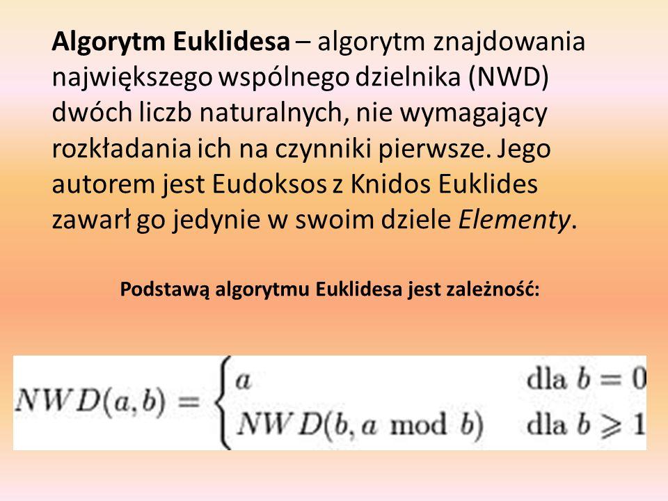 Algorytm Euklidesa – algorytm znajdowania największego wspólnego dzielnika (NWD) dwóch liczb naturalnych, nie wymagający rozkładania ich na czynniki p