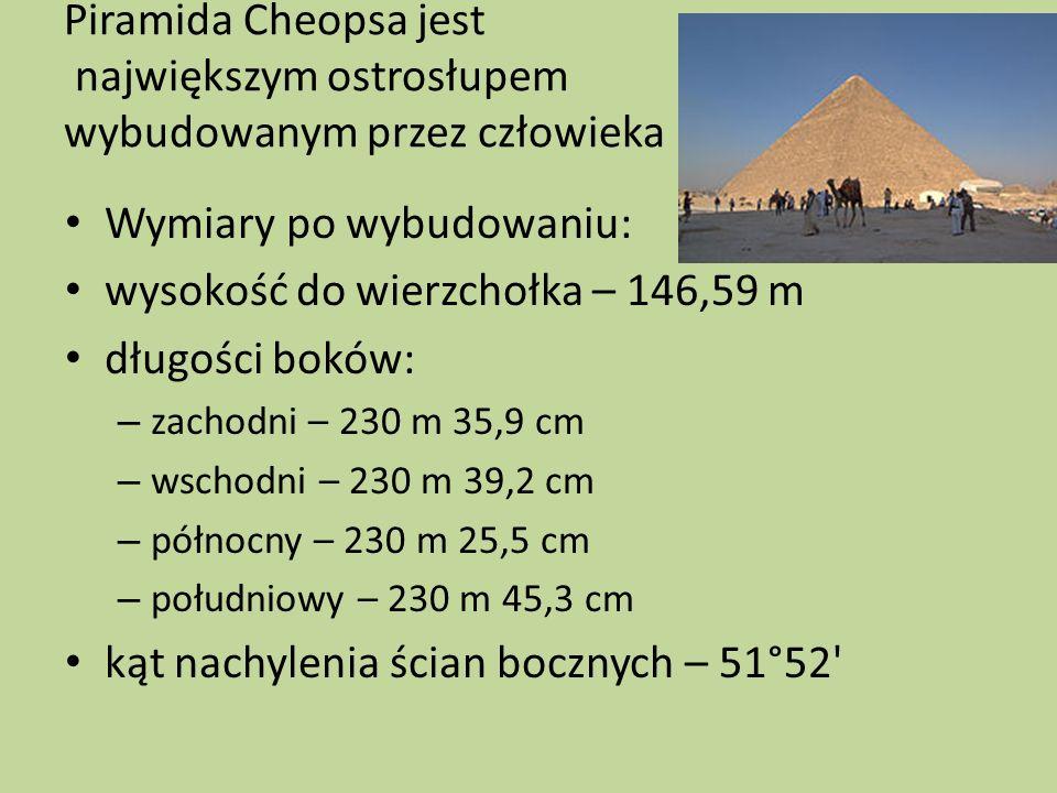 Piramida Cheopsa jest największym ostrosłupem wybudowanym przez człowieka Wymiary po wybudowaniu: wysokość do wierzchołka – 146,59 m długości boków: –