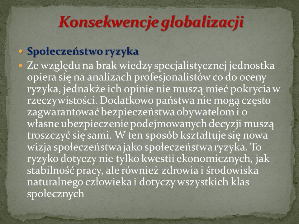 W wyniku procesu globalizacji politycznej powstały takie organizacje międzynarodowe jak: Bank Światowy, Międzynarodowy Fundusz Walutowy czy Światowa O