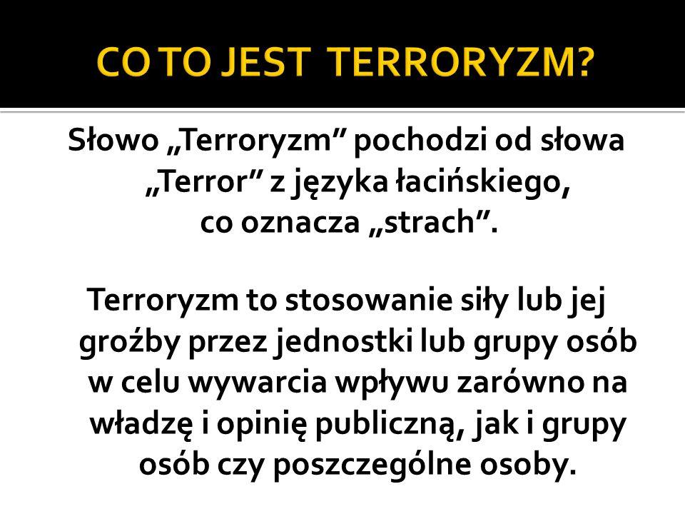 Słowo Terroryzm pochodzi od słowa Terror z języka łacińskiego, co oznacza strach.
