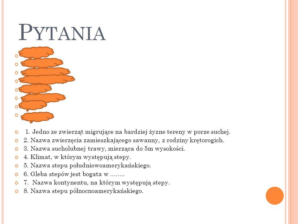 P YTANIA SŁOŃ ANTYLOPA SŁONIOWA kontynentalny pampa próchnicę Azja preria 1. Jedno ze zwierząt migrujące na bardziej żyzne tereny w porze suchej. 2. N