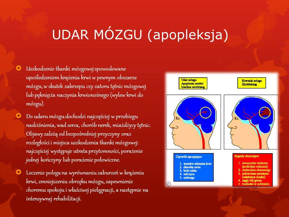UDAR MÓZGU (apopleksja) Uszkodzenie tkanki mózgowej spowodowane upośledzeniem krążenia krwi w pewnym obszarze mózgu, w skutek zakrzepu czy zatoru tętn