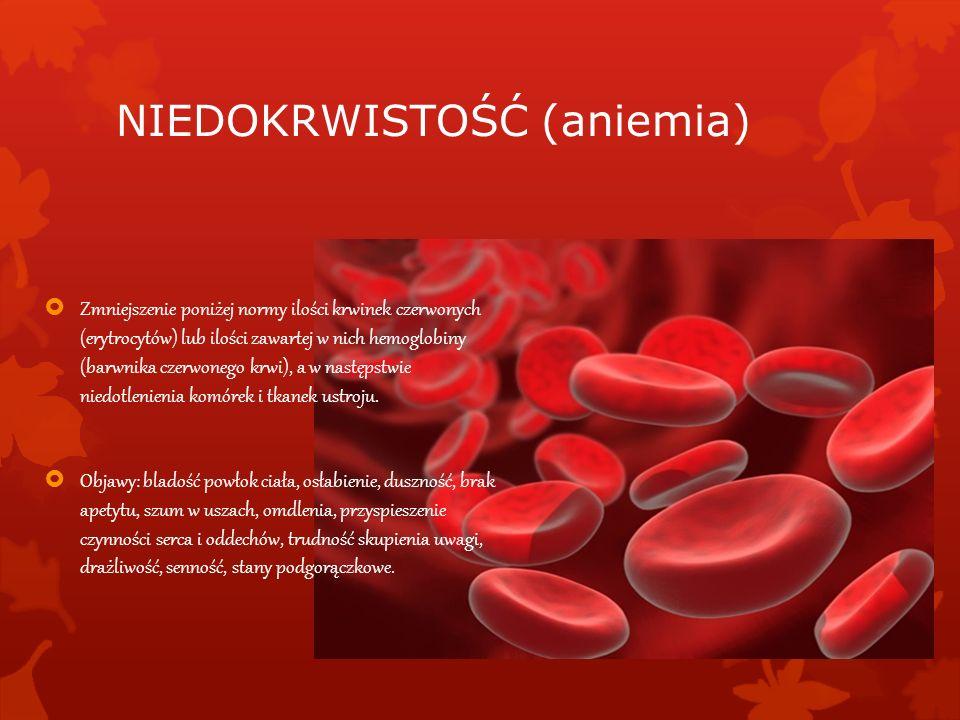 NIEDOKRWISTOŚĆ (aniemia) Zmniejszenie poniżej normy ilości krwinek czerwonych (erytrocytów) lub ilości zawartej w nich hemoglobiny (barwnika czerwoneg