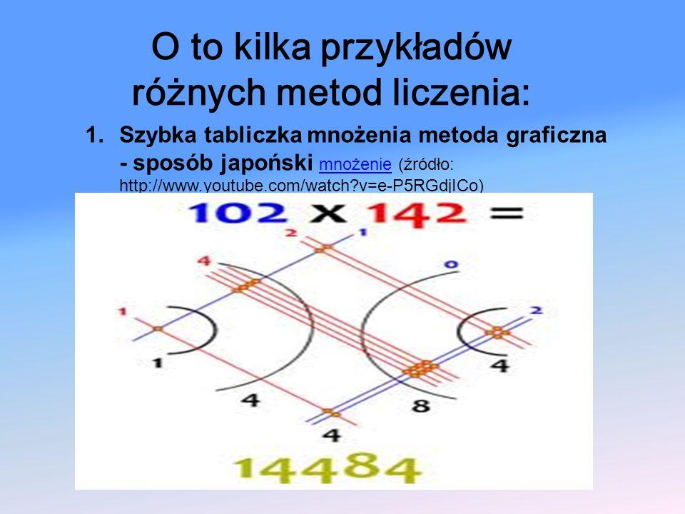 1.Szybka tabliczka mnożenia metoda graficzna - sposób japoński mnożenie (źródło: http://www.youtube.com/watch?v=e-P5RGdjICo) mnożenie O to kilka przyk