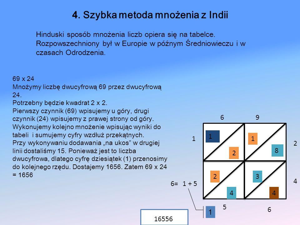 69 x 24 Mnożymy liczbę dwucyfrową 69 przez dwucyfrową 24. Potrzebny będzie kwadrat 2 x 2. Pierwszy czynnik (69) wpisujemy u góry, drugi czynnik (24) w