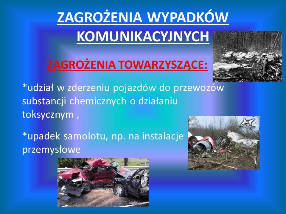 ZAGROŻENIA WYPADKÓW KOMUNIKACYJNYCH ZAGROŻENIA TOWARZYSZĄCE: *udział w zderzeniu pojazdów do przewozów substancji chemicznych o działaniu toksycznym,