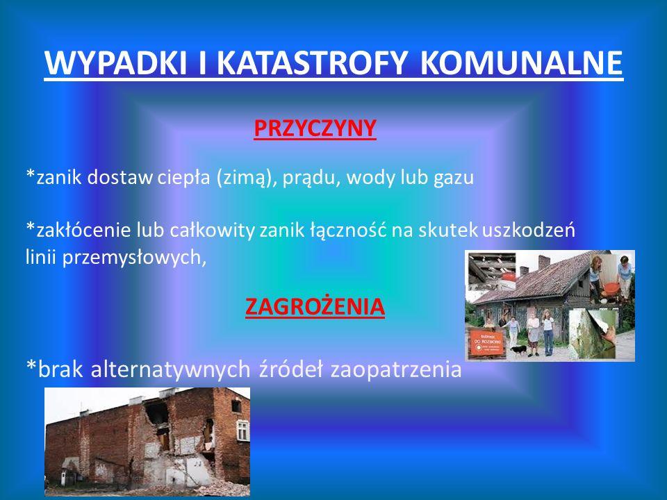 WYPADKI I KATASTROFY KOMUNALNE PRZYCZYNY *zanik dostaw ciepła (zimą), prądu, wody lub gazu *zakłócenie lub całkowity zanik łączność na skutek uszkodze