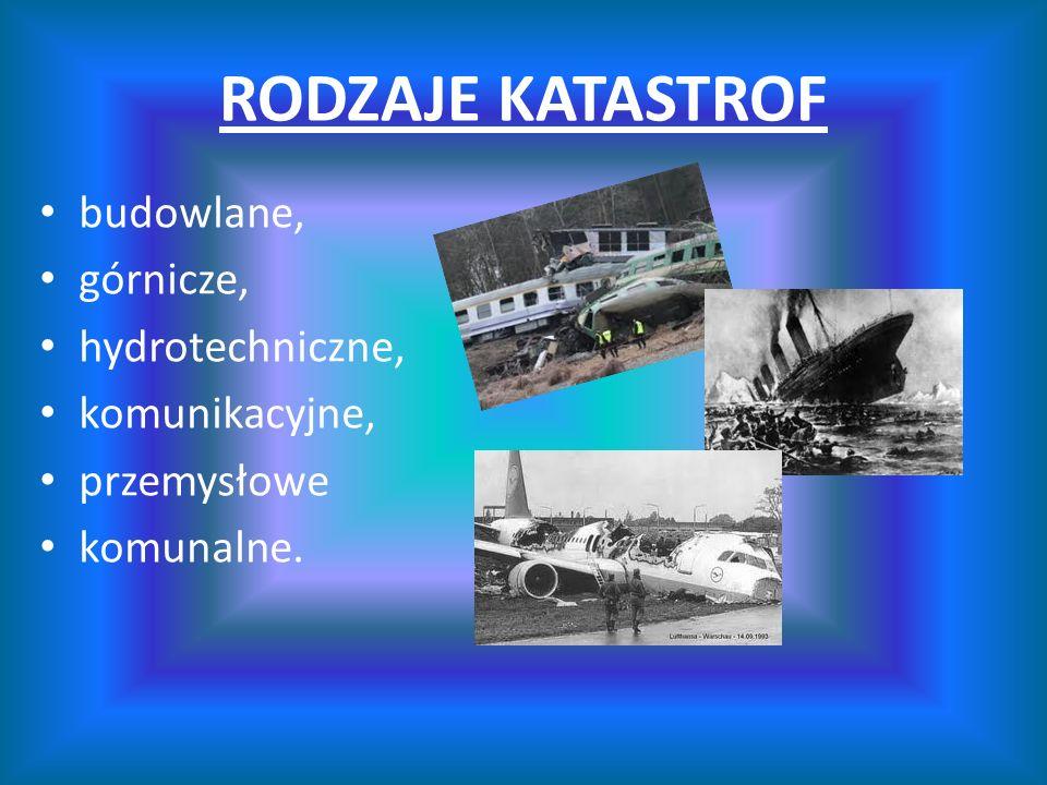 RODZAJE KATASTROF budowlane, górnicze, hydrotechniczne, komunikacyjne, przemysłowe komunalne.