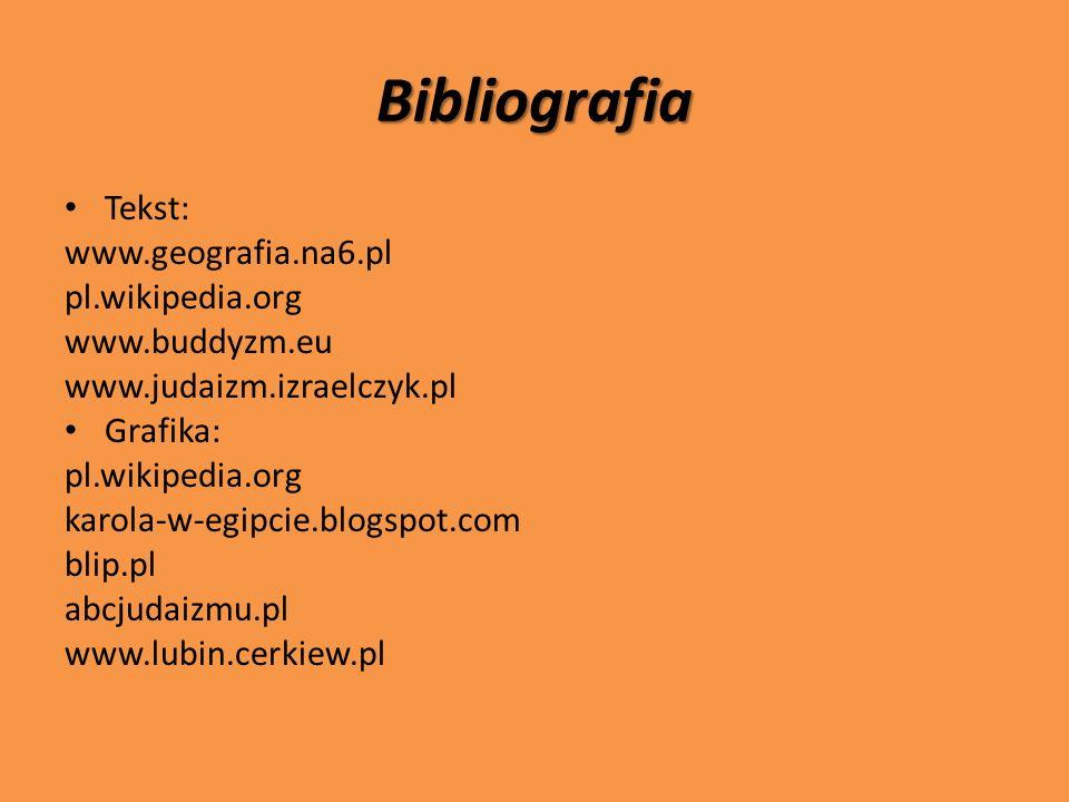 Bibliografia Tekst: www.geografia.na6.pl pl.wikipedia.org www.buddyzm.eu www.judaizm.izraelczyk.pl Grafika: pl.wikipedia.org karola-w-egipcie.blogspot