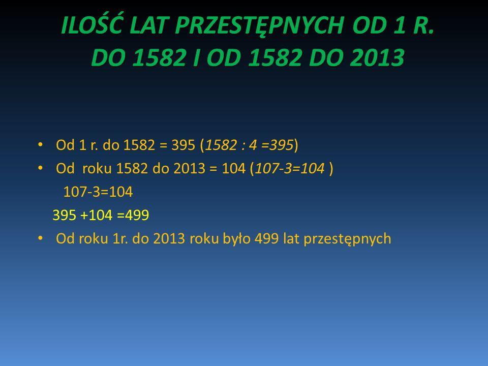 ILOŚĆ LAT PRZESTĘPNYCH OD 1 R. DO 1582 I OD 1582 DO 2013 Od 1 r. do 1582 = 395 (1582 : 4 =395) Od roku 1582 do 2013 = 104 (107-3=104 ) 107-3=104 395 +