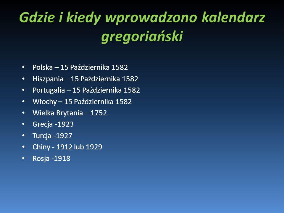 Gdzie i kiedy wprowadzono kalendarz gregoriański Polska – 15 Października 1582 Hiszpania – 15 Października 1582 Portugalia – 15 Października 1582 Włoc
