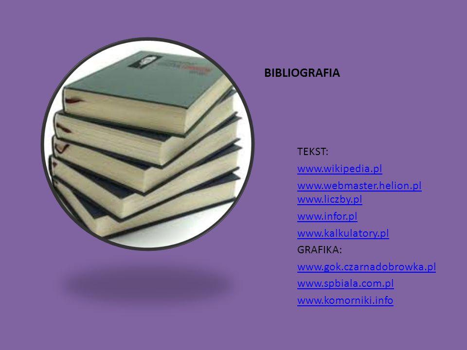 BIBLIOGRAFIA TEKST: www.wikipedia.pl www.webmaster.helion.pl www.liczby.pl www.infor.pl www.kalkulatory.pl GRAFIKA: www.gok.czarnadobrowka.pl www.spbi