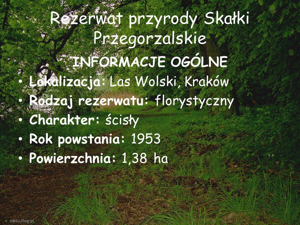 Rezerwat przyrody Skałki Przegorzalskie INFORMACJE OGÓLNE Lokalizacja: Las Wolski, Kraków Rodzaj rezerwatu: florystyczny Charakter: ścisły Rok powstan