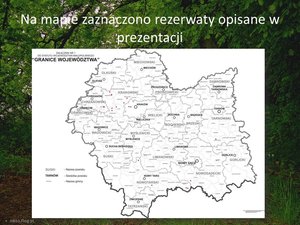Na mapie zaznaczono rezerwaty opisane w prezentacji