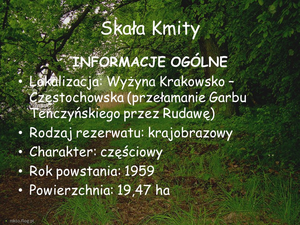 Skała Kmity INFORMACJE OGÓLNE Lokalizacja: Wyżyna Krakowsko – Częstochowska (przełamanie Garbu Tenczyńskiego przez Rudawę) Rodzaj rezerwatu: krajobraz