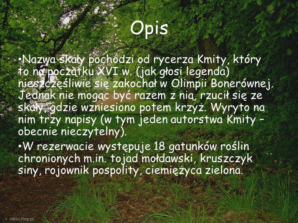 Opis Nazwa skały pochodzi od rycerza Kmity, który to na początku XVI w. (jak głosi legenda) nieszczęśliwie się zakochał w Olimpii Bonerównej. Jednak n