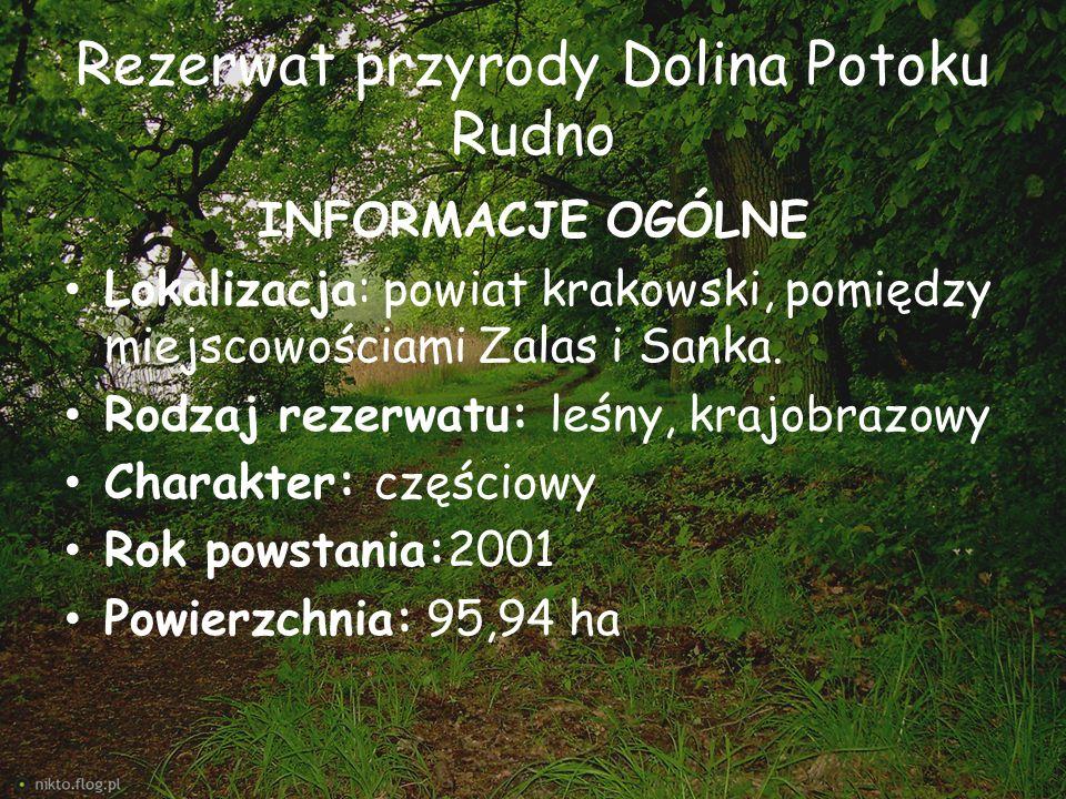Rezerwat przyrody Dolina Potoku Rudno INFORMACJE OGÓLNE Lokalizacja: powiat krakowski, pomiędzy miejscowościami Zalas i Sanka. Rodzaj rezerwatu: leśny