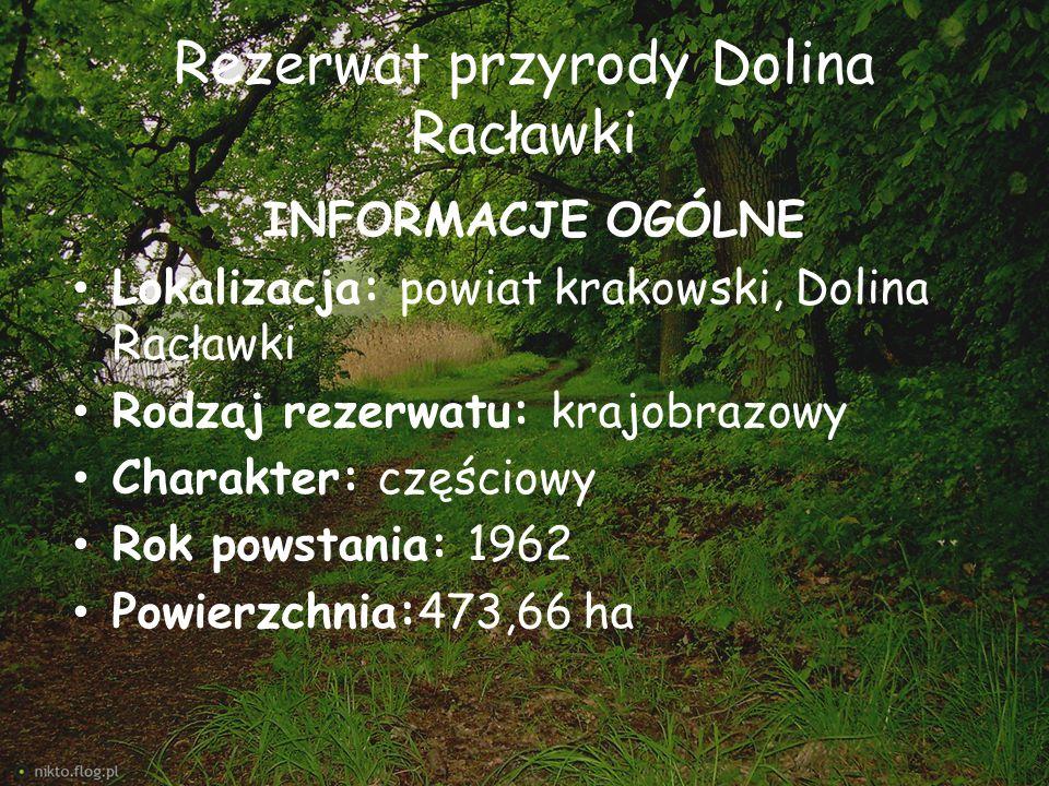 Rezerwat przyrody Dolina Racławki INFORMACJE OGÓLNE Lokalizacja: powiat krakowski, Dolina Racławki Rodzaj rezerwatu: krajobrazowy Charakter: częściowy