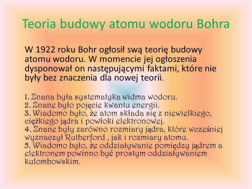 Teoria budowy atomu wodoru Bohra W 1922 roku Bohr ogłosił swą teorię budowy atomu wodoru.