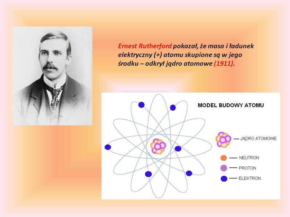 Ernest Rutherford pokazał, że masa i ładunek elektryczny (+) atomu skupione są w jego środku – odkrył jądro atomowe (1911).