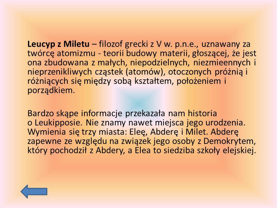 Leucyp z Miletu – filozof grecki z V w.