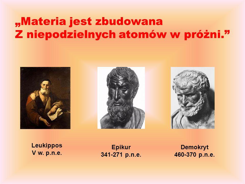 Leukippos V w.p.n.e. Demokryt 460-370 p.n.e. Epikur 341-271 p.n.e.