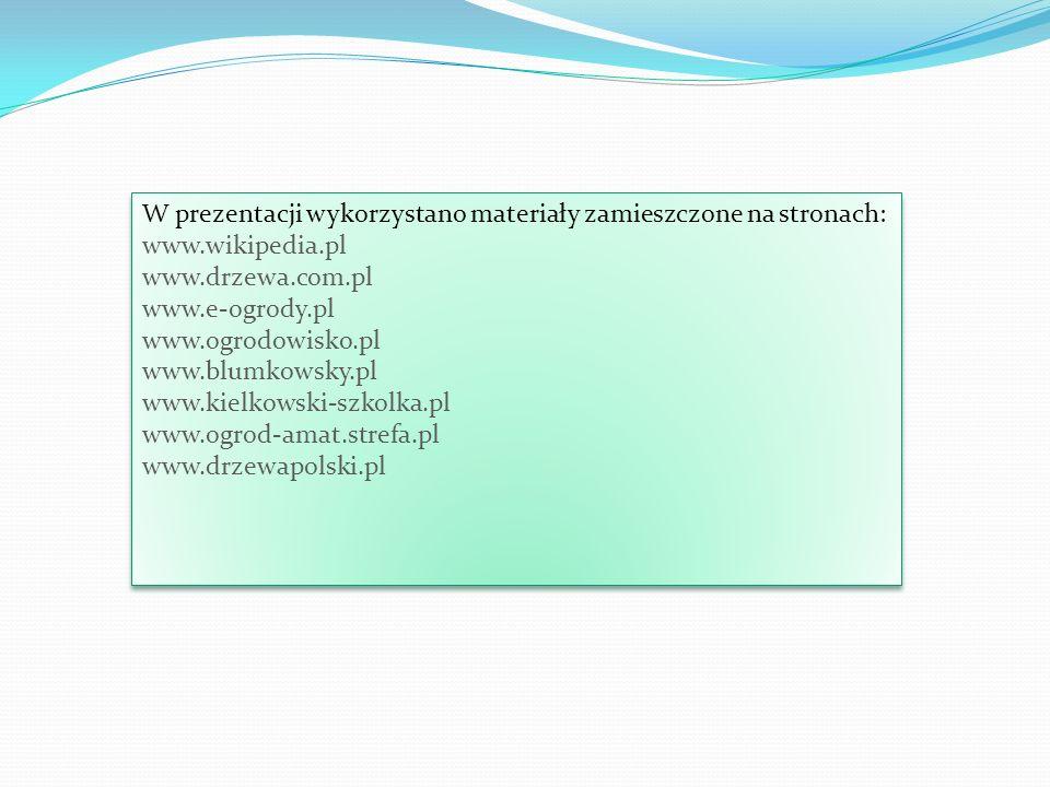 W prezentacji wykorzystano materiały zamieszczone na stronach: www.wikipedia.pl www.drzewa.com.pl www.e-ogrody.pl www.ogrodowisko.pl www.blumkowsky.pl