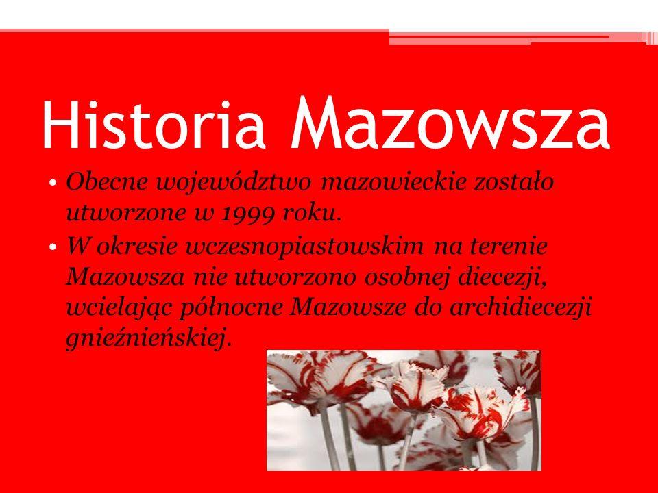 Historia Mazowsza Obecne województwo mazowieckie zostało utworzone w 1999 roku. W okresie wczesnopiastowskim na terenie Mazowsza nie utworzono osobnej