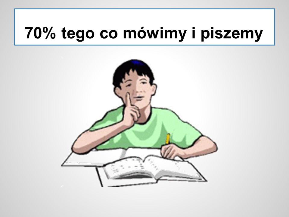 70% tego co mówimy i piszemy