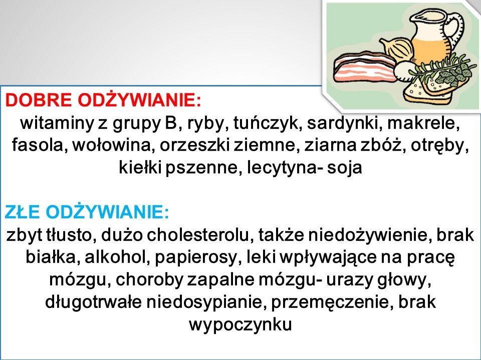 DOBRE ODŻYWIANIE: witaminy z grupy B, ryby, tuńczyk, sardynki, makrele, fasola, wołowina, orzeszki ziemne, ziarna zbóż, otręby, kiełki pszenne, lecyty