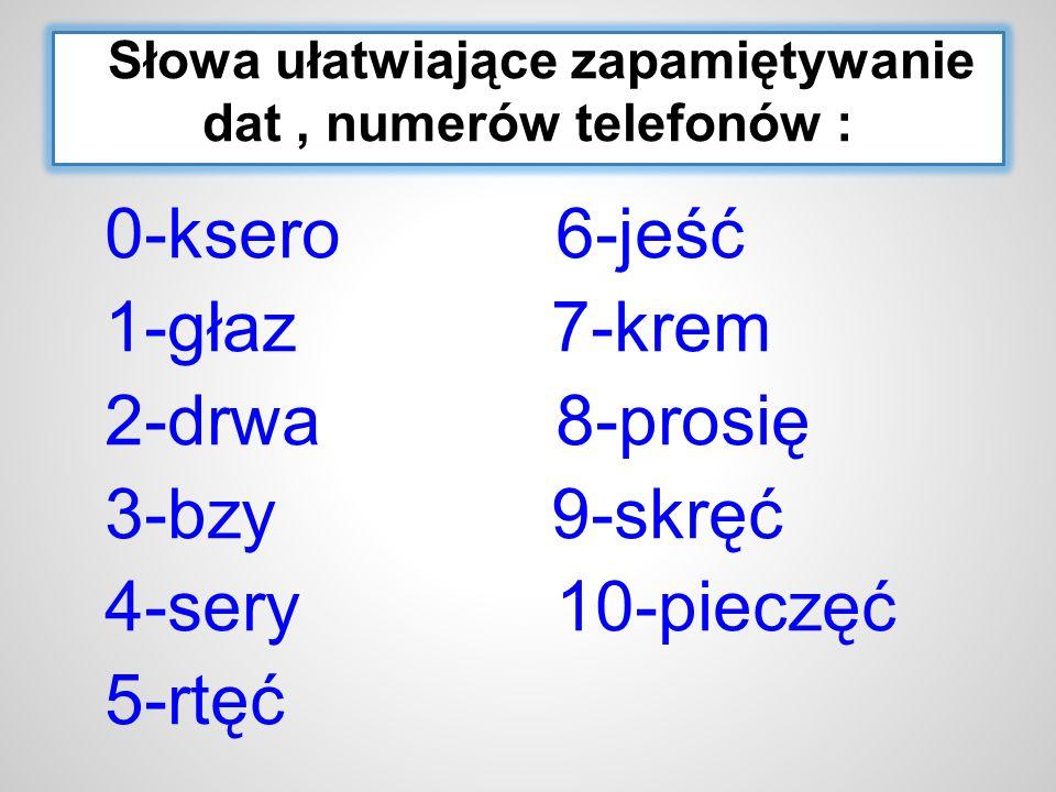 Słowa ułatwiające zapamiętywanie dat, numerów telefonów : 0-ksero 6-jeść 1-głaz 7-krem 2-drwa 8-prosię 3-bzy 9-skręć 4-sery 10-pieczęć 5-rtęć
