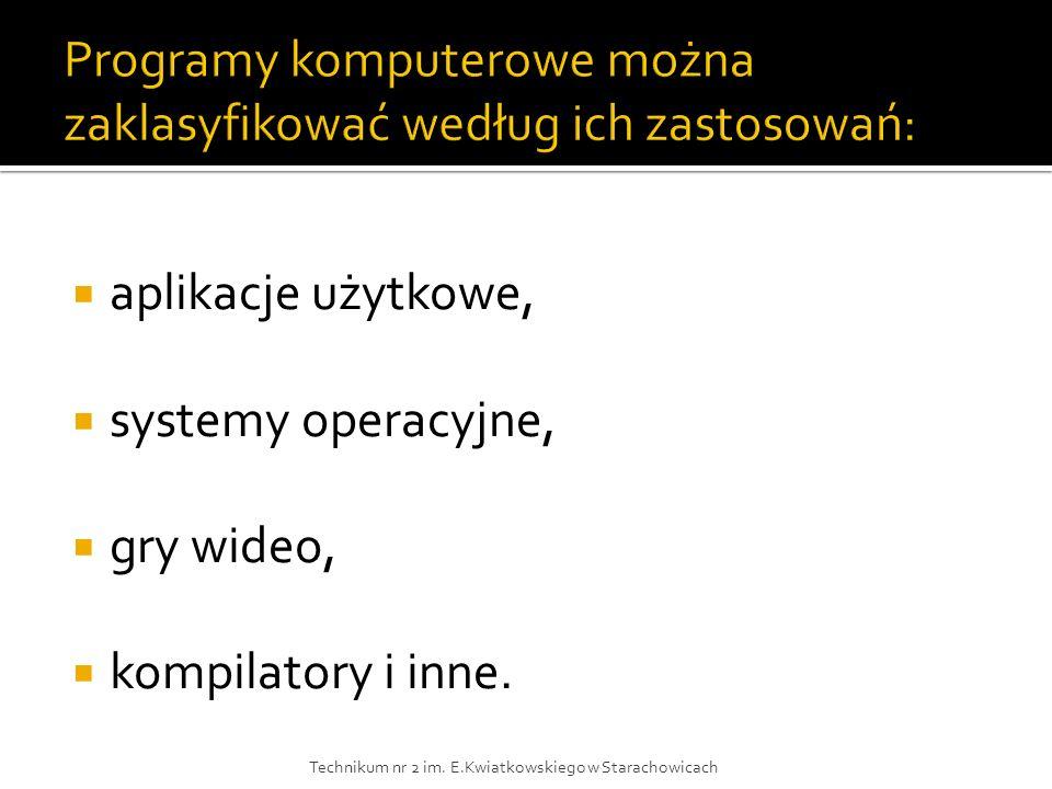 aplikacje użytkowe, systemy operacyjne, gry wideo, kompilatory i inne. Technikum nr 2 im. E.Kwiatkowskiego w Starachowicach
