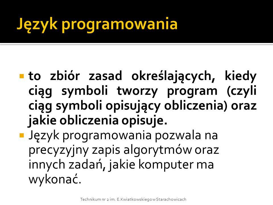 to zbiór zasad określających, kiedy ciąg symboli tworzy program (czyli ciąg symboli opisujący obliczenia) oraz jakie obliczenia opisuje. Język program