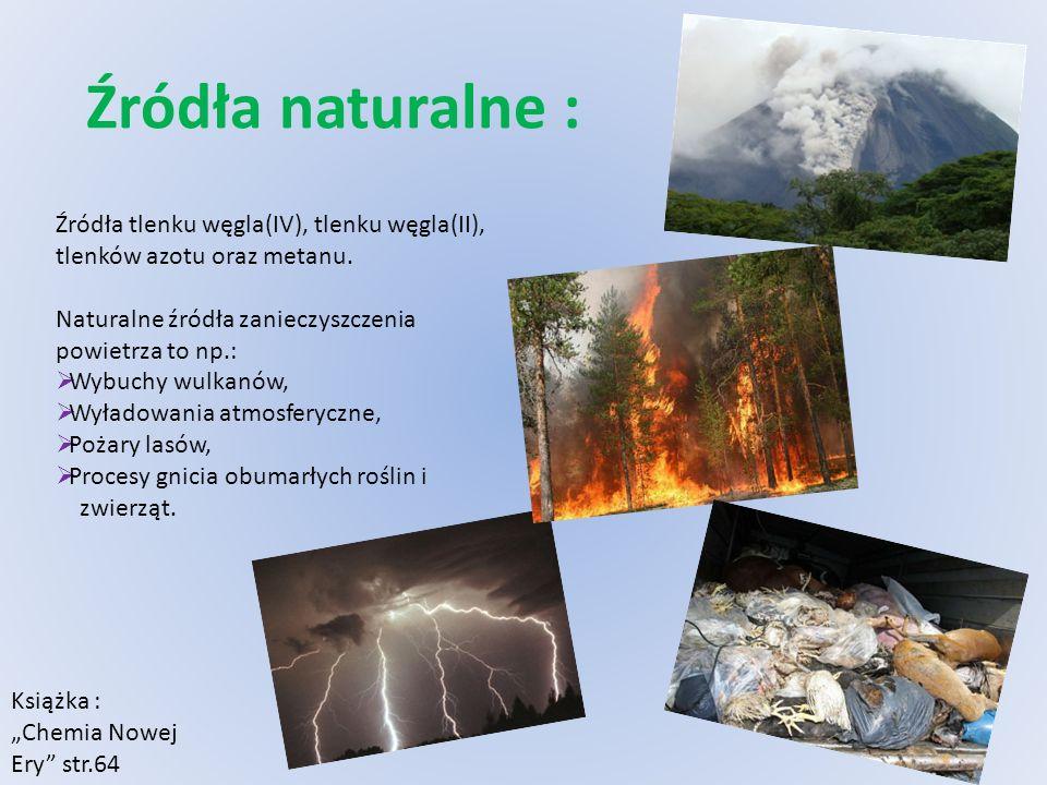 Źródła naturalne : Źródła tlenku węgla(IV), tlenku węgla(II), tlenków azotu oraz metanu. Naturalne źródła zanieczyszczenia powietrza to np.: Wybuchy w