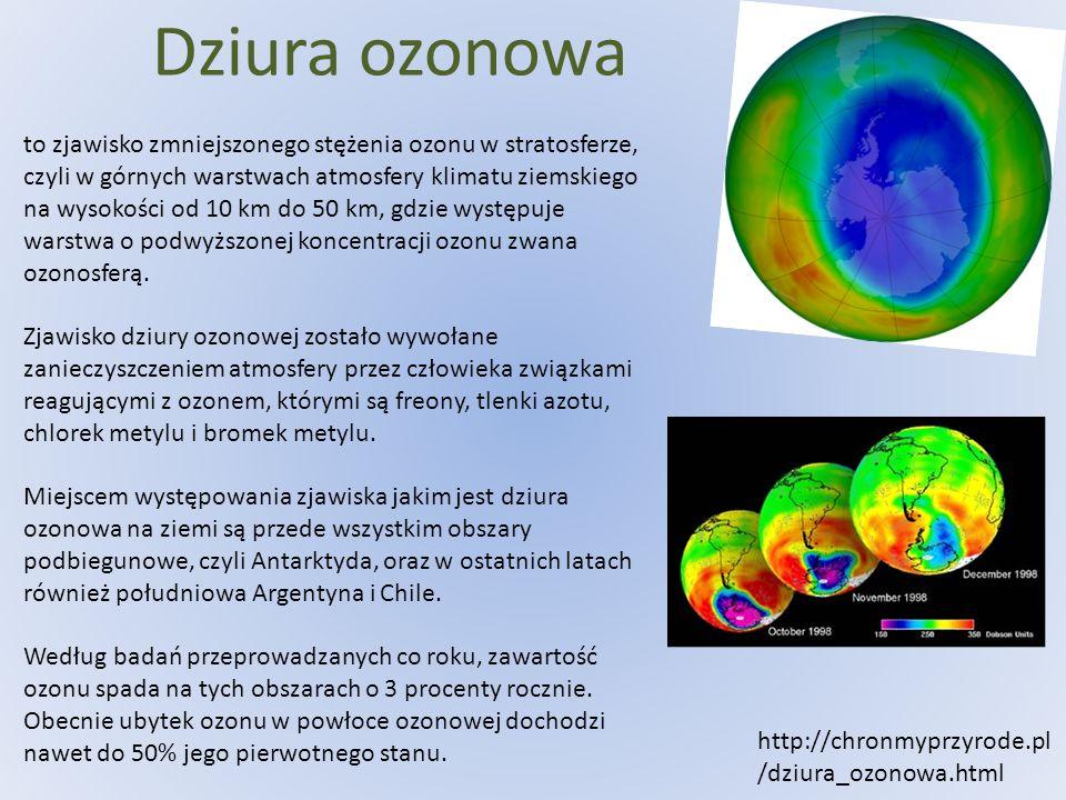 Dziura ozonowa to zjawisko zmniejszonego stężenia ozonu w stratosferze, czyli w górnych warstwach atmosfery klimatu ziemskiego na wysokości od 10 km d