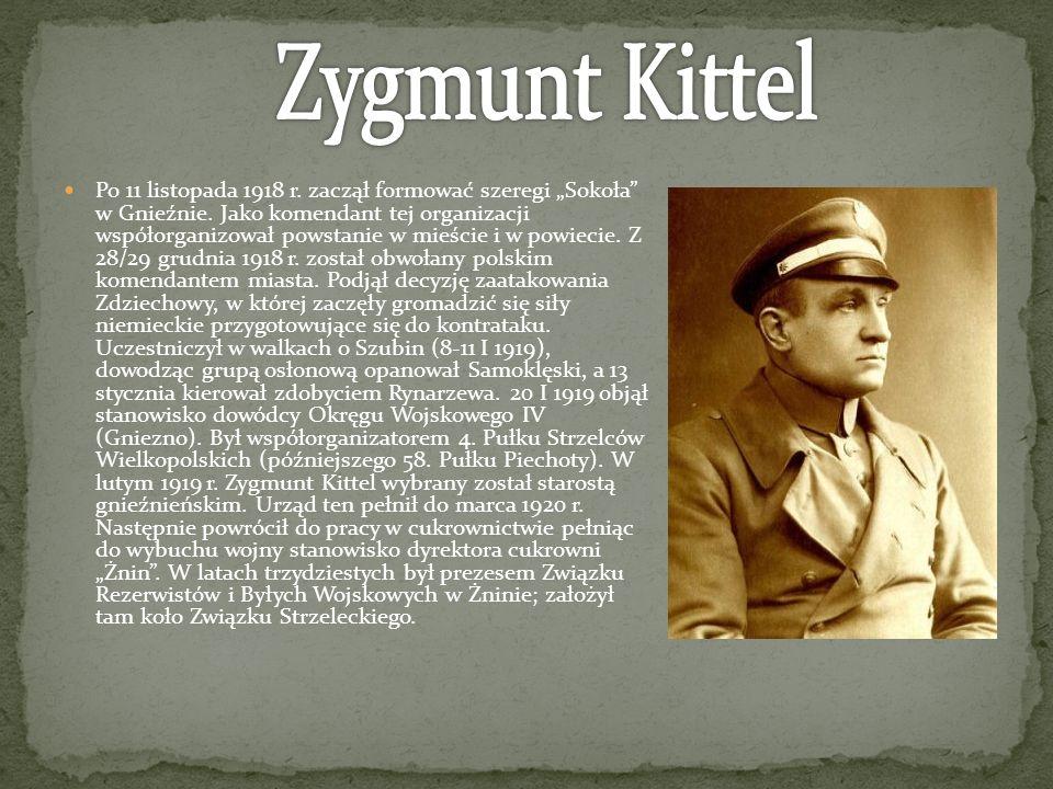 Po 11 listopada 1918 r. zaczął formować szeregi Sokoła w Gnieźnie. Jako komendant tej organizacji współorganizował powstanie w mieście i w powiecie. Z