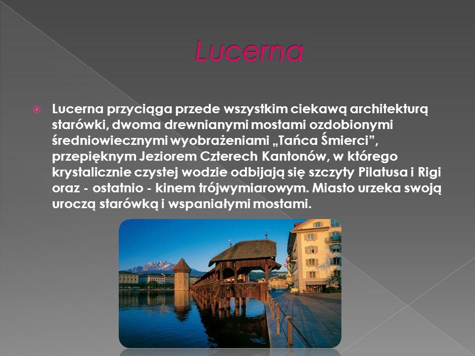 Lucerna przyciąga przede wszystkim ciekawą architekturą starówki, dwoma drewnianymi mostami ozdobionymi średniowiecznymi wyobrażeniami Tańca Śmierci, przepięknym Jeziorem Czterech Kantonów, w którego krystalicznie czystej wodzie odbijają się szczyty Pilatusa i Rigi oraz - ostatnio - kinem trójwymiarowym.